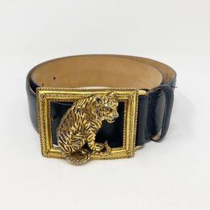VINTAGE Doncaster Tiger Belt L Black Leather Boho